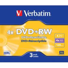 Диск DVD+RW VERBATIM (4,7Гб, 4x, slim case, 3) [43636]