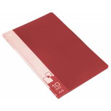 Папка Бюрократ -BPV10RED (A4, пластик, толщина пластика 0,6мм, карман торцевой с бумажной вставкой, красный) [BPV10RED]