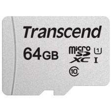 Карта памяти microSDXC 64Гб Transcend (Class 10, 95Мб/с, UHS Class 1, UHS-I, адаптер на SD) [TS64GUSD300S-A]