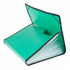 Портфель Бюрократ -BPR13LGRN (13 отделений, A4, пластик, с окантовкой, 0,7мм, зеленый) [BPR13LGRN]
