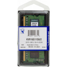 Память SODIMM DDR3 2Гб 1600МГц Kingston (12800Мб/с, CL11, 204-pin, 1.5 В) [KVR16S11S6/2]