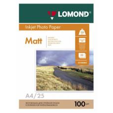 Фотобумага Lomond 0102038 (A4, 100г/м2, для струйной печати, двусторонняя, матовая, 25л) [0102038]