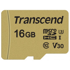 Карта памяти microSDHC 16Гб Transcend (Class 10, 95Мб/с, UHS Class 3, UHS-I, адаптер на SD) [TS16GUSD500S]