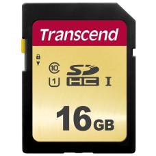 Карта памяти Secure Digital HC 16Гб Transcend (Class 10, 95Мб/с, UHS Class 1) [TS16GSDC500S]