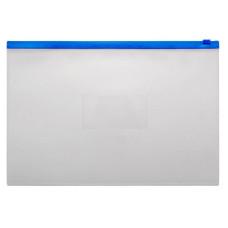 Папка на молнии ZIP Бюрократ -BPM4ABLUE (A4+, полипропилен, толщина пластика 0,15мм, молния синий) [BPM4ABLUE]
