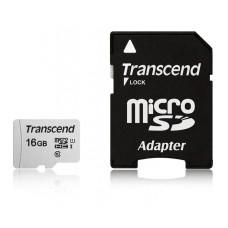 Карта памяти microSDHC 16Гб Transcend (Class 10, 95Мб/с, UHS Class 1, UHS-I, адаптер на SD) [TS16GUSD300S-A]