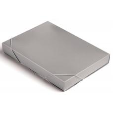 Папка-короб Бюрократ -BA40/07GREY (A4, пластик, толщина пластика 0,7мм, на резинке, ширина корешка 40мм, серый) [BA40/07GREY]