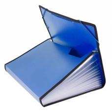 Портфель Бюрократ -BPR13LBLUE (13 отделений, A4, пластик, с окантовкой, 0,7мм, синий) [BPR13LBLUE]