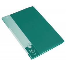 Папка Бюрократ -BPV20GRN (A4, пластик, толщина пластика 0,6мм, карман торцевой с бумажной вставкой, зеленый) [BPV20GRN]