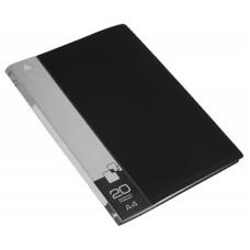 Папка Бюрократ -BPV20BLACK (A4, пластик, толщина пластика 0,6мм, карман торцевой с бумажной вставкой, черный) [BPV20BLACK]