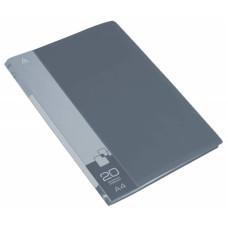 Папка Бюрократ BPV20GREY (A4, пластик, толщина пластика 0,6мм, карман торцевой с бумажной вставкой, серый) [BPV20GREY]