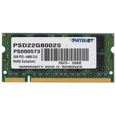 Память SODIMM DDR2 2Гб 800МГц Patriot Memory (6400Мб/с, CL6, 200-pin, 1.8 В) [PSD22G8002S]