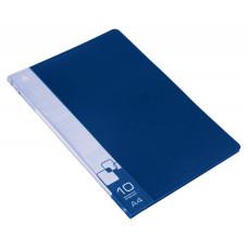 Папка Бюрократ BPV10BLUE (A4, пластик, толщина пластика 0,6мм, карман торцевой с бумажной вставкой, синий) [BPV10BLUE]