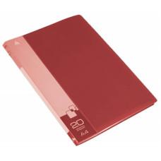 Папка Бюрократ -BPV20RED (A4, пластик, толщина пластика 0,6мм, карман торцевой с бумажной вставкой, красный) [BPV20RED]