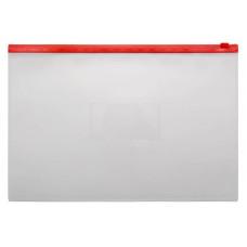 Папка на молнии ZIP Бюрократ -BPM4ARED (A4+, полипропилен, толщина пластика 0,15мм, молния красный) [BPM4ARED]