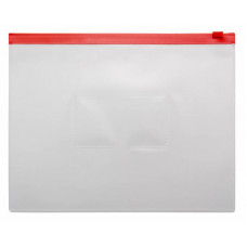 Папка на молнии ZIP Бюрократ BPM5ARED (A5, полипропилен, толщина пластика 0,15мм, молния красный) [BPM5ARED]