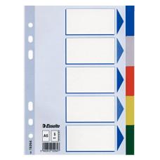 Разделитель индексный ESSELTE 15264 (A5, пластик, кол-во индексов 5, цветные) [15264]
