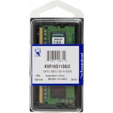 Память SO-DIMM DDR3 2Гб 1600МГц Kingston (12800Мб/с, CL11, 204-pin, 1.5) [KVR16S11S6/2]