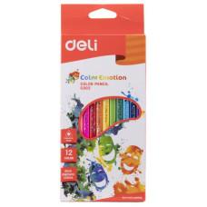 Карандаши цветные Deli Color Emotion EC00200 (липа, трехгранные, 12 цветов, упаковка 12шт, коробка европодвес) [EC00200]