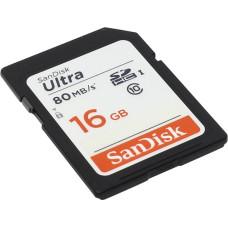 Карта памяти Secure Digital, Secure Digital HC 16Гб SanDisk (Class 10, 80Мб/с, 533x, UHS Class 1, UHS-I) [SDSDUNC-016G-GN6IN]