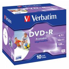 Диск DVD+R Verbatim (4.7Гб, 16x, jewel case, 10, Printable) [43508]