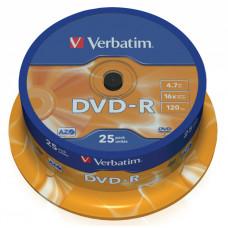 Диск DVD-R Verbatim (4.7Гб, 16x, cake box, 25) [43522]
