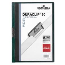 Папка с клипом Durable Duraclip 2200-32 (верхний лист прозрачный, A4, вместимость 1-30 листов, темно-зеленый) [2200-32]