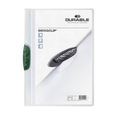 Папка с фигурным клипом Durable Swingclip 226005 (верхний лист полупрозрачный, A4, вместимость 1-30 листов, зеленый) [226005]