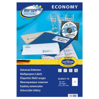 Этикетки Europe100 (A4, односторонняя, 18 листов, белый, накл: 1шт, 210x297мм) [ELA027-18]