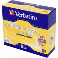 Диск DVD+RW Verbatim (4,7Гб, 4x, jewel case, 5) [43229]