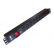Блок распределения питания LANMASTER TWT-PDU19-10A8C13 (10А, горизонтальное, 8xC13, базовые, C14) [TWT-PDU19-10A8C13]