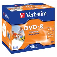 Диск DVD-R Verbatim (4.7Гб, 16x, jewel case, 10, Printable) [43521]