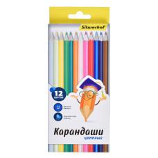 Карандаши цветные Silwerhof 134206-12 (шестигранные, 2,65мм, 12 цветов, коробка европодвес) [134206-12]