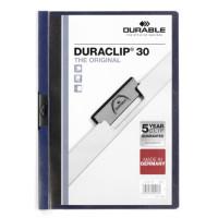 Папка с клипом Durable Duraclip 220007 (верхний лист прозрачный, A4, вместимость 1-30 листов, темно-синий) [220007]