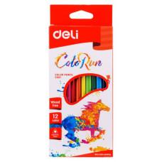 Карандаши цветные Deli ColoRun EC00100 (пластик, трехгранные, 12 цветов, коробка европодвес) [EC00100]