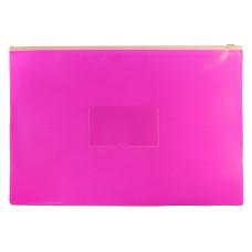 Папка на молнии ZIP Бюрократ Double Neon DNEBPM4APINK (A4+, полипропилен, толщина пластика 0,15мм, молния белый) [DNEBPM4APINK]