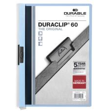 Папка с клипом Durable Duraclip 2209-06 (верхний лист прозрачный, A4, вместимость 1-60 листов, голубой) [2209-06]