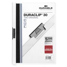 Папка с клипом Durable Duraclip 2200-02 (верхний лист прозрачный, A4, вместимость 1-30 листов, белый) [2200-02]