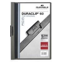 Папка с клипом Durable Duraclip Original 2209-57 (верхний лист прозрачный, A4, вместимость 1-60 листов, темно-серый) [2209-57]