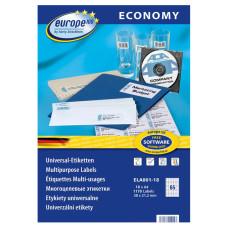 Этикетки Europe100 (A4, односторонняя, 18 листов, белый, накл: 65шт, 38x21,2мм) [ELA001-18]
