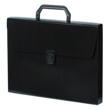 Портфель Бюрократ DeLuxe DLPP01BLCK (A4, отделений 1, пластик, толщина пластика 0,7мм, черный) [DLPP01BLCK]