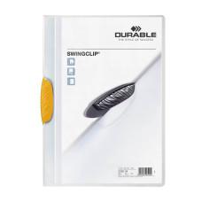 Папка с фигурным клипом Durable Swingclip 226004 (верхний лист полупрозрачный, A4, вместимость 1-30 листов, желтый) [226004]