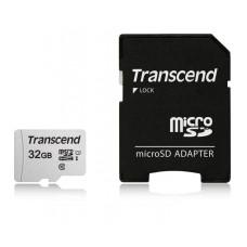 Карта памяти microSDHC 32Гб Transcend (Class 10, 95Мб/с, UHS-I U1, адаптер на SD) [TS32GUSD300S-A]
