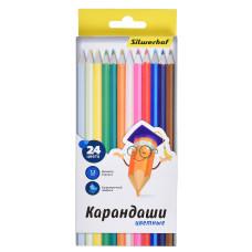 Карандаши цветные Silwerhof 134214-24 (шестигранные, 24 цветов, коробка европодвес) [134214-24]