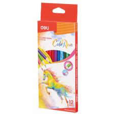 Карандаши цветные Deli ColoRun (тополь, трехгранные, 12 цветов, коробка европодвес) [EC00300]