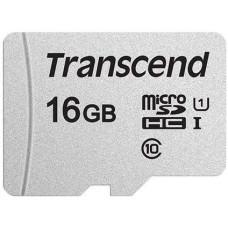 Карта памяти microSDHC 16Гб Transcend (Class 10, 95Мб/с, UHS-I U1, без адаптера) [TS16GUSD300S]
