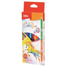 Карандаши цветные Deli ColoRun (липа, 24 цветов, упаковка 12шт, коробка европодвес) [EC00520]