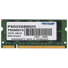 Память SO-DIMM DDR2 2Гб 800МГц Patriot Memory (6400Мб/с, CL6, 200-pin, 1.8 В) [PSD22G8002S]