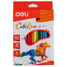 Карандаши цветные Deli ColoRun EC00110 (пластик, трехгранные, 18 цветов, коробка европодвес) [EC00110]