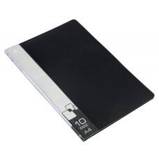 Папка Бюрократ BPV10BLACK (A4, пластик, толщина пластика 0,6мм, карман торцевой с бумажной вставкой, черный) [BPV10BLACK]